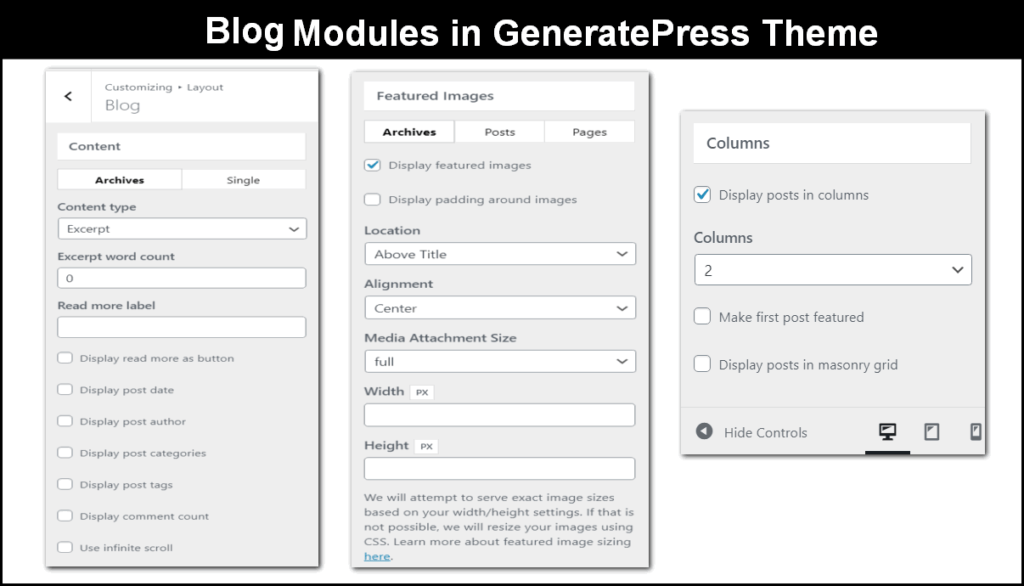 blog module in generatepress theme