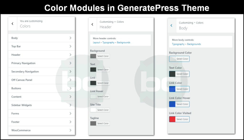 color modules in generatepress theme