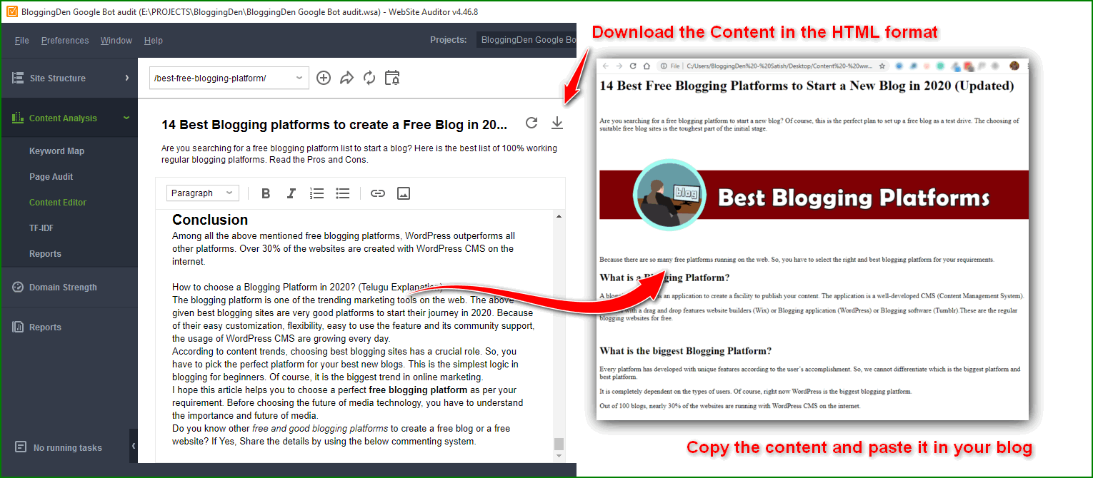 export the content in HTML format