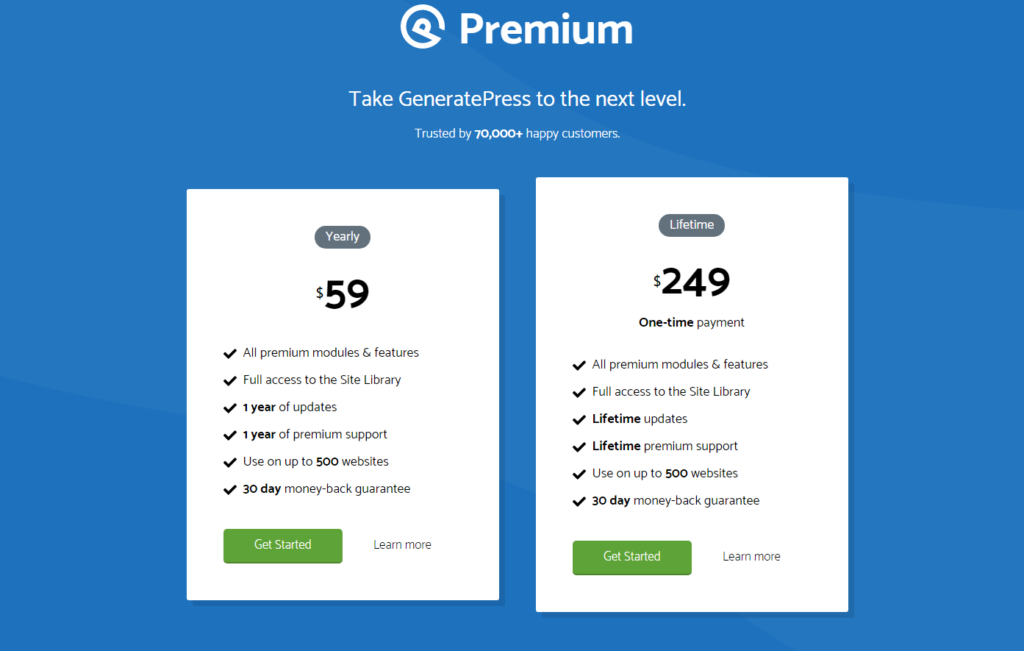 generatepress theme pricing