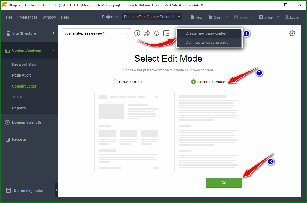 select document mode from content editor