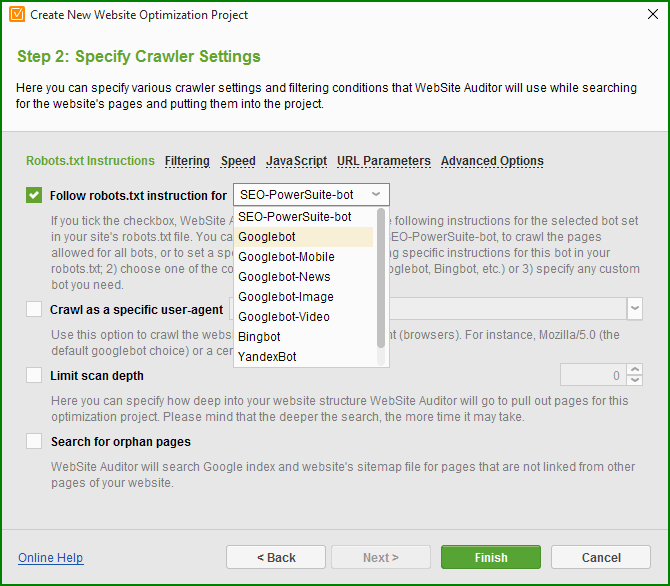 specify crawler settings