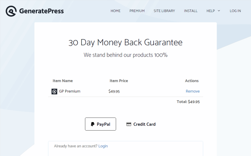 start purchasing process for generatepress