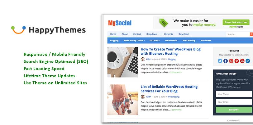 MySocial Premium theme from HappyThemes