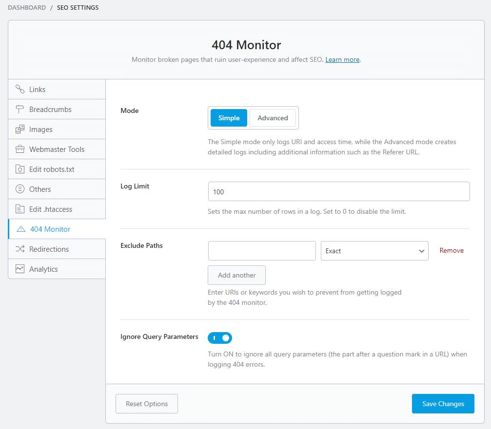 SEO settings 404 monitor