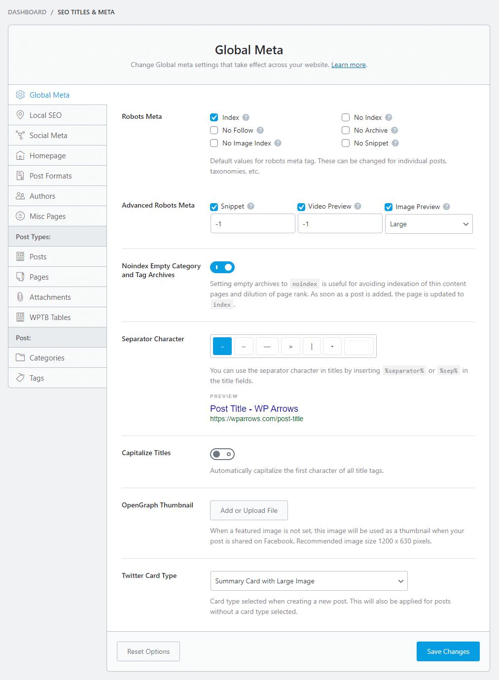 SEO titles and Meta settings