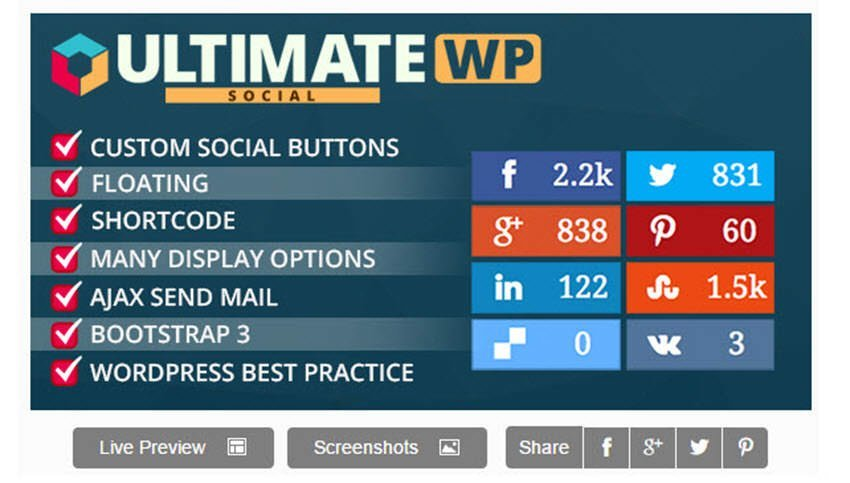 Ultimate Wp Deux - social share and locker pro