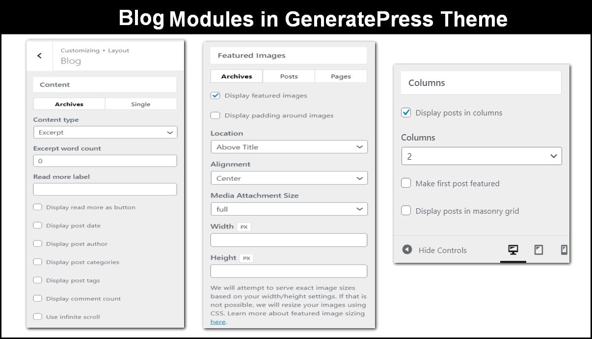 blog module in generatepress theme