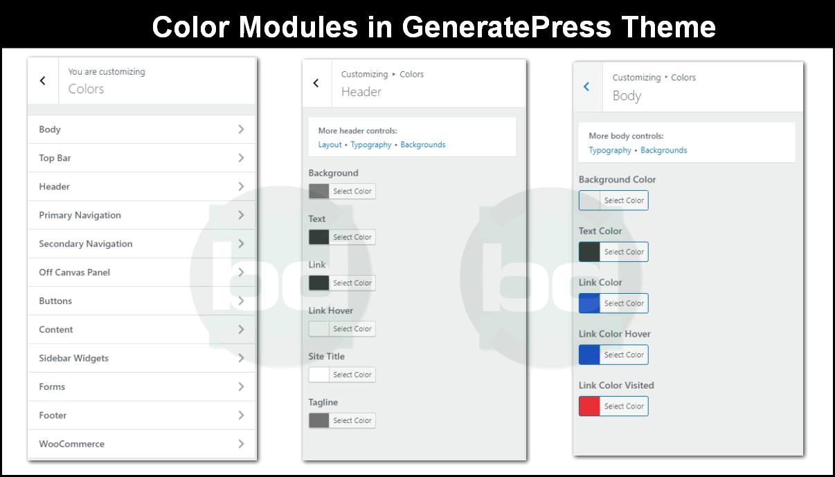 color modules in generatepress theme