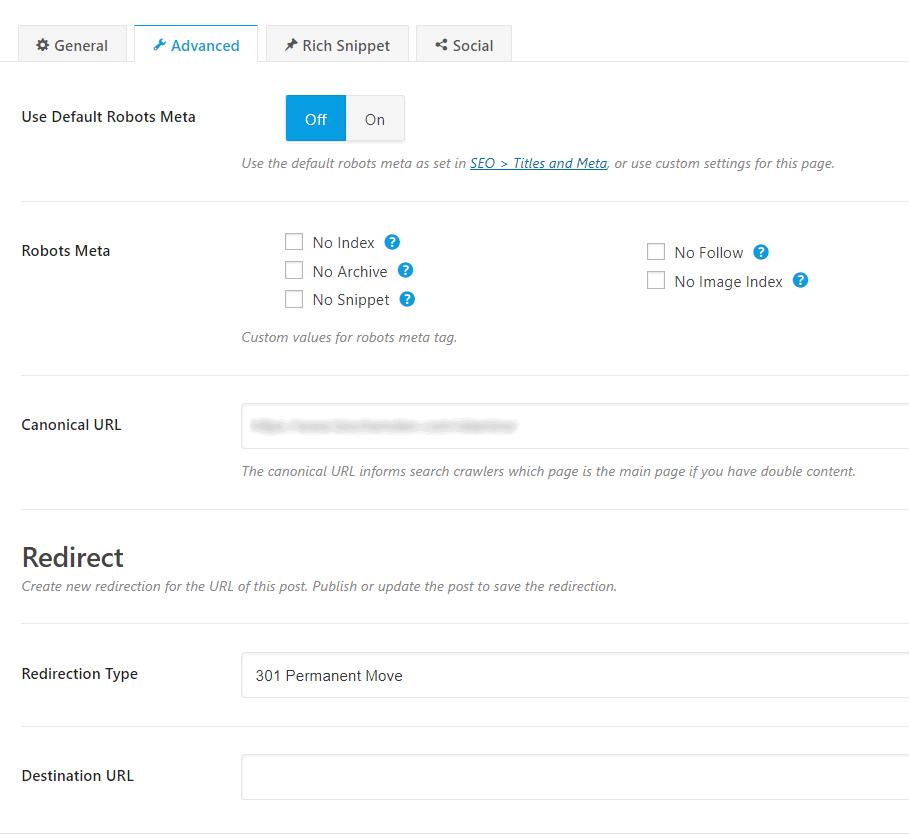 content analyzer ADVANCED settings