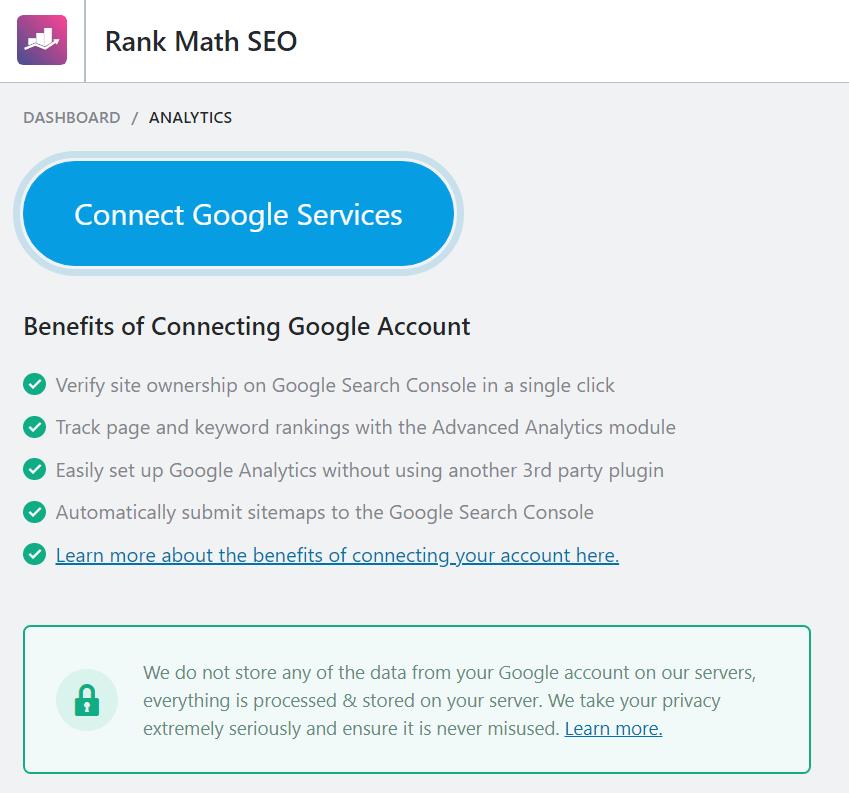 Rank math plugin - ANALYTICS feature