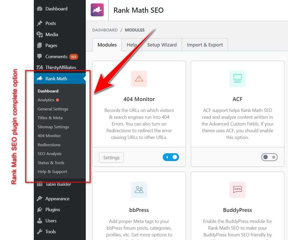 Rank Math option in side bar