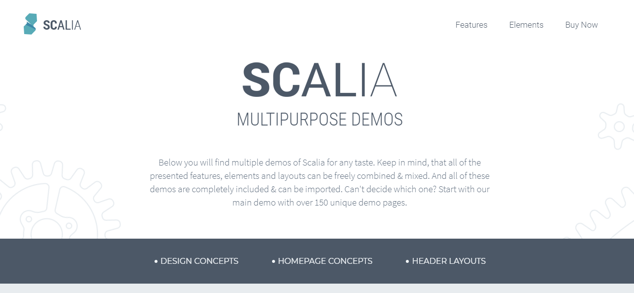 scalia theme homepage