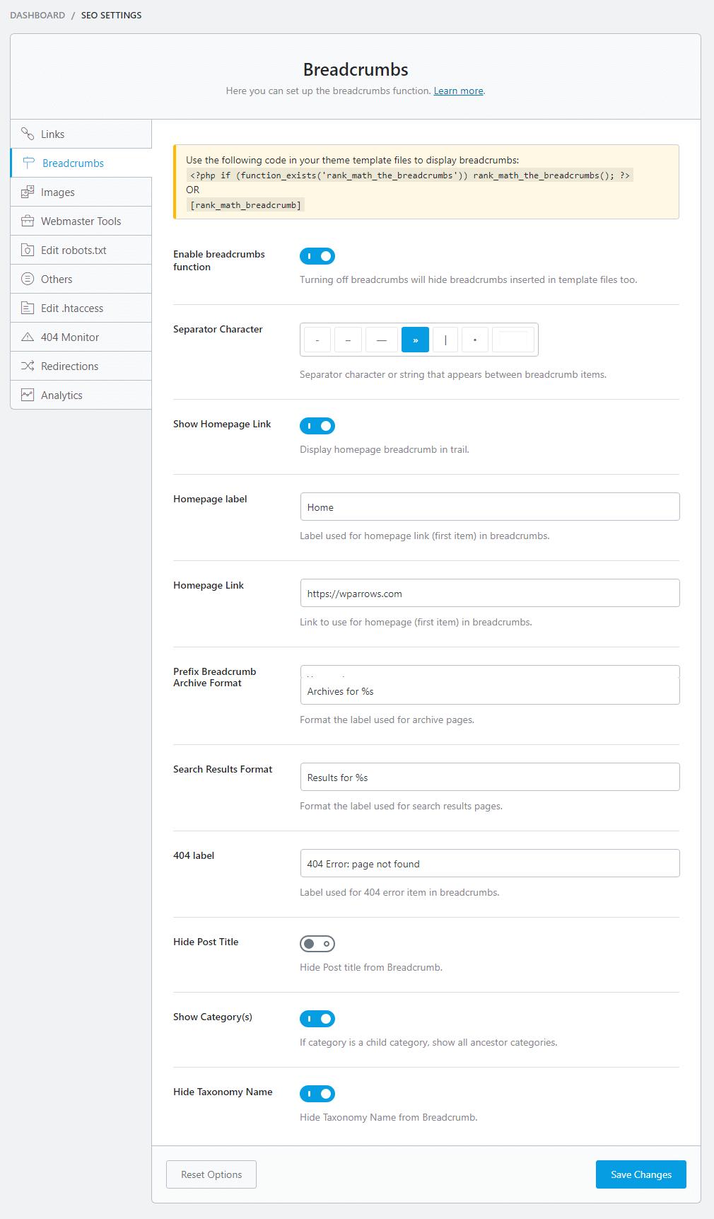 seo settings BREADCRUMBS