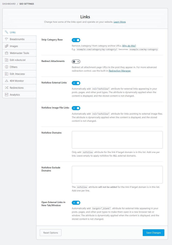 seo settings LINKS