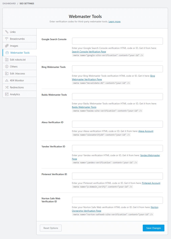 seo settings WEBMASTER TOOLS