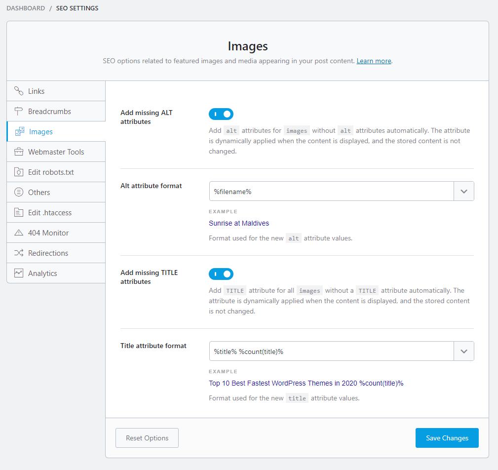 seo settings images
