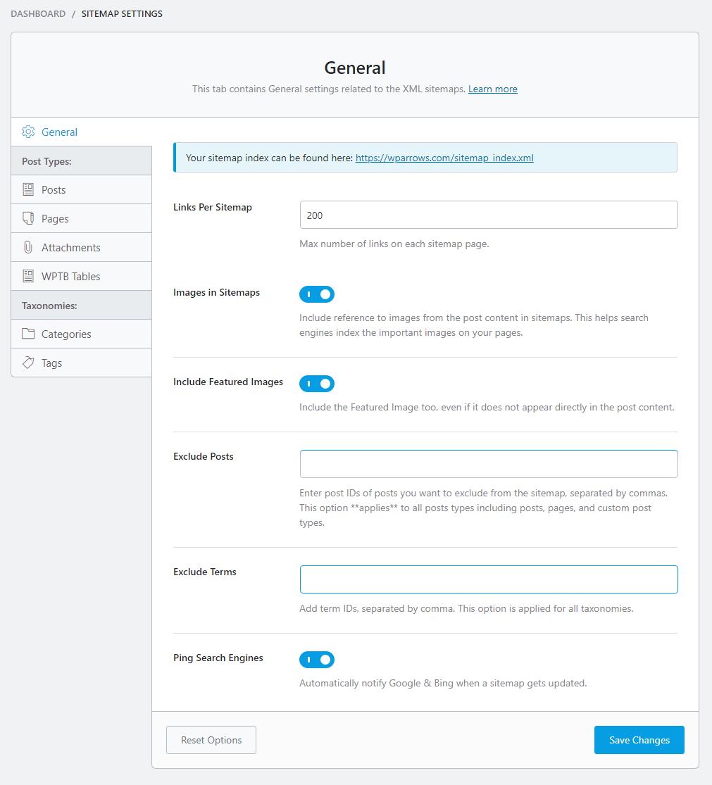 sitemap settings