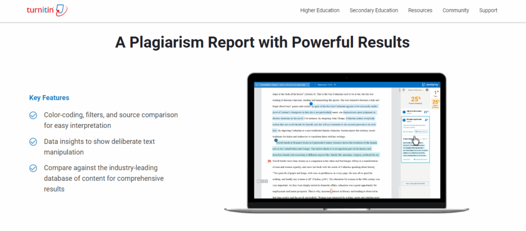 turnitin plagiarism checker