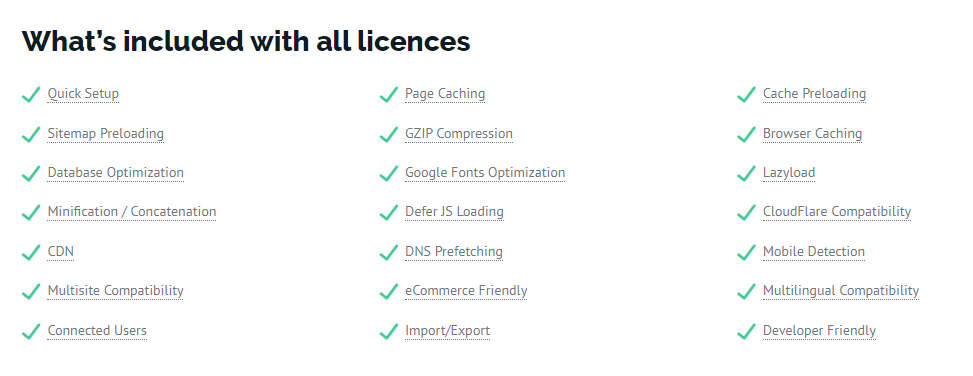 what includes with all wp rocket licences