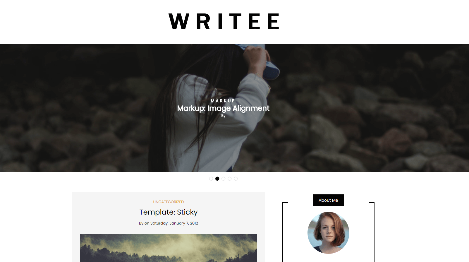 writee theme homepage