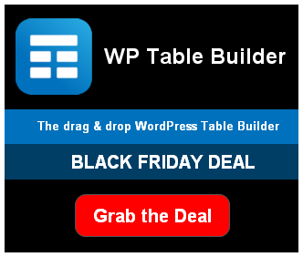 wp table builder wordpress plugin black friday deal