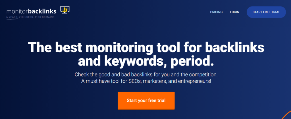 monitorbacklinks homepage