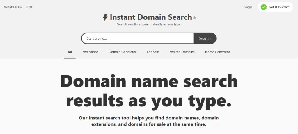Instant Domain Search tool