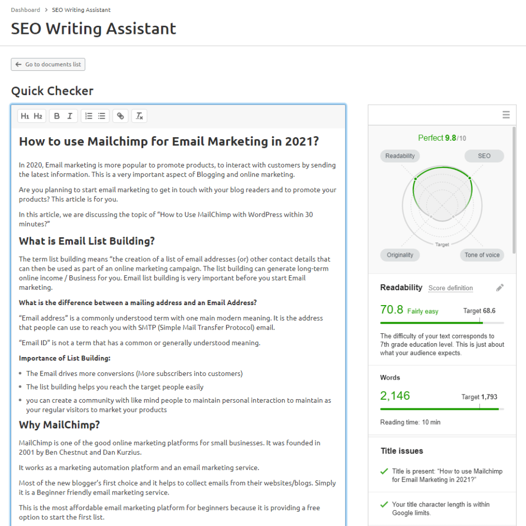 SEO writing assistant from SEMRUSH