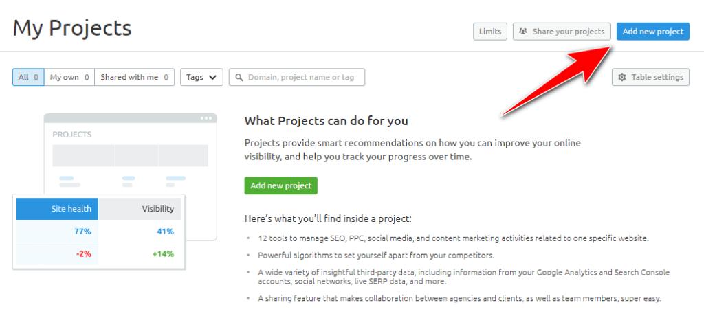 add new project in semrush