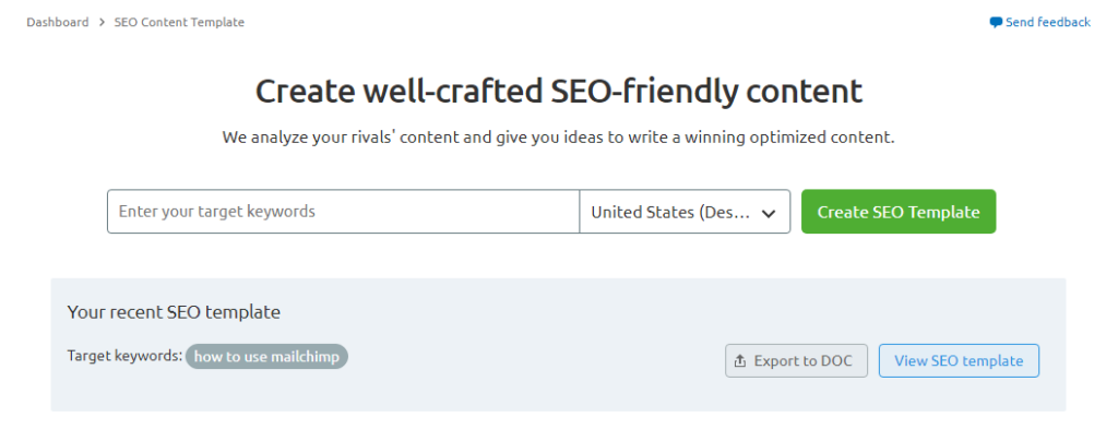 seo content template from SEMRUSH