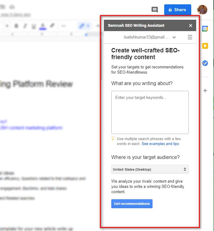 SEMRUSH Google docs extensions