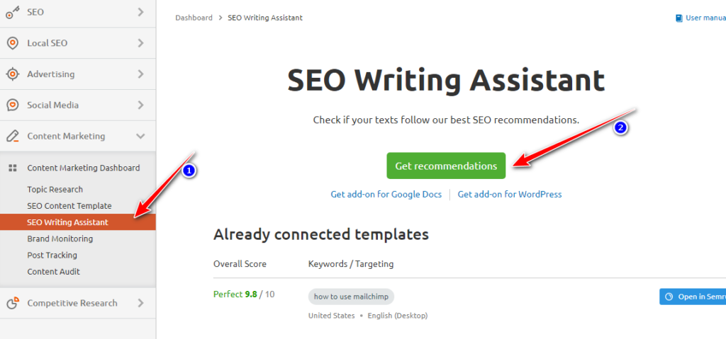 SEMRUSH SEO writing assistant tool to start