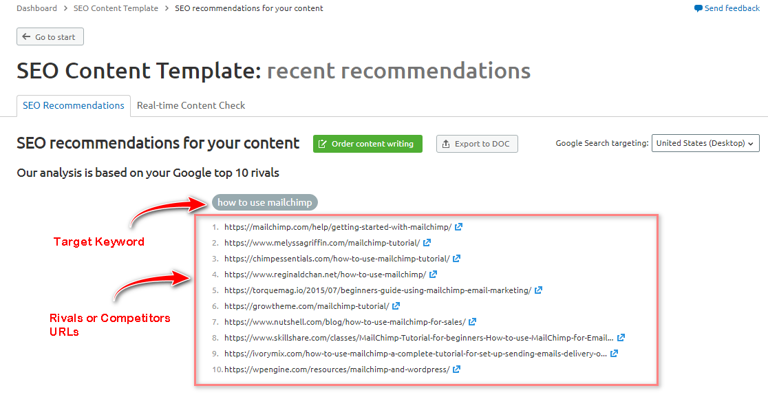 semrush seo recommendations for your content