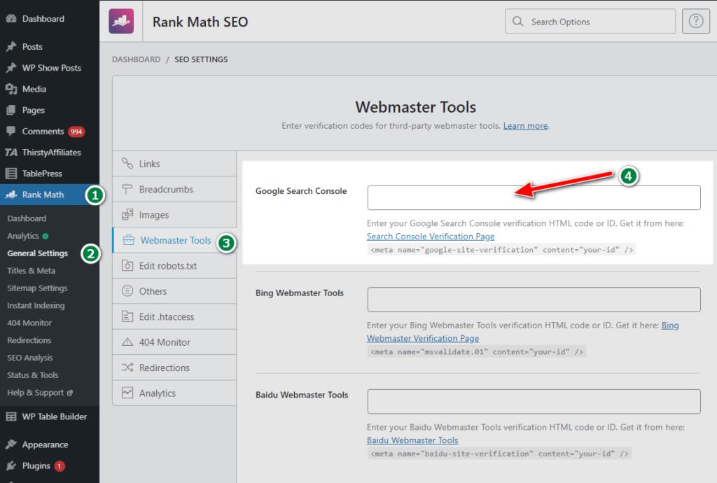 paste HTML verification code ID in rank math