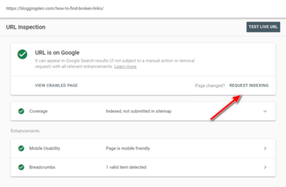 request indexing url in GSC