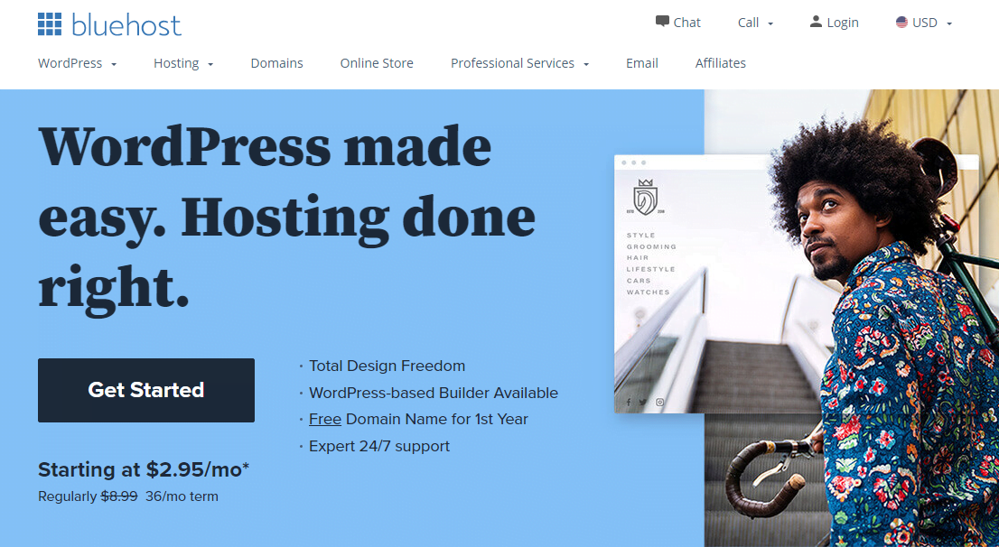 bluehost homepage 2021