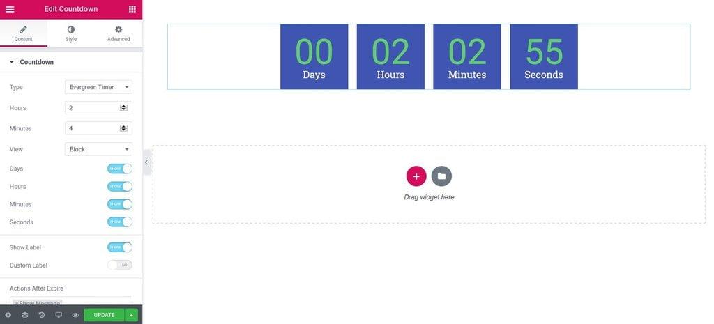 countdown widget evergreen